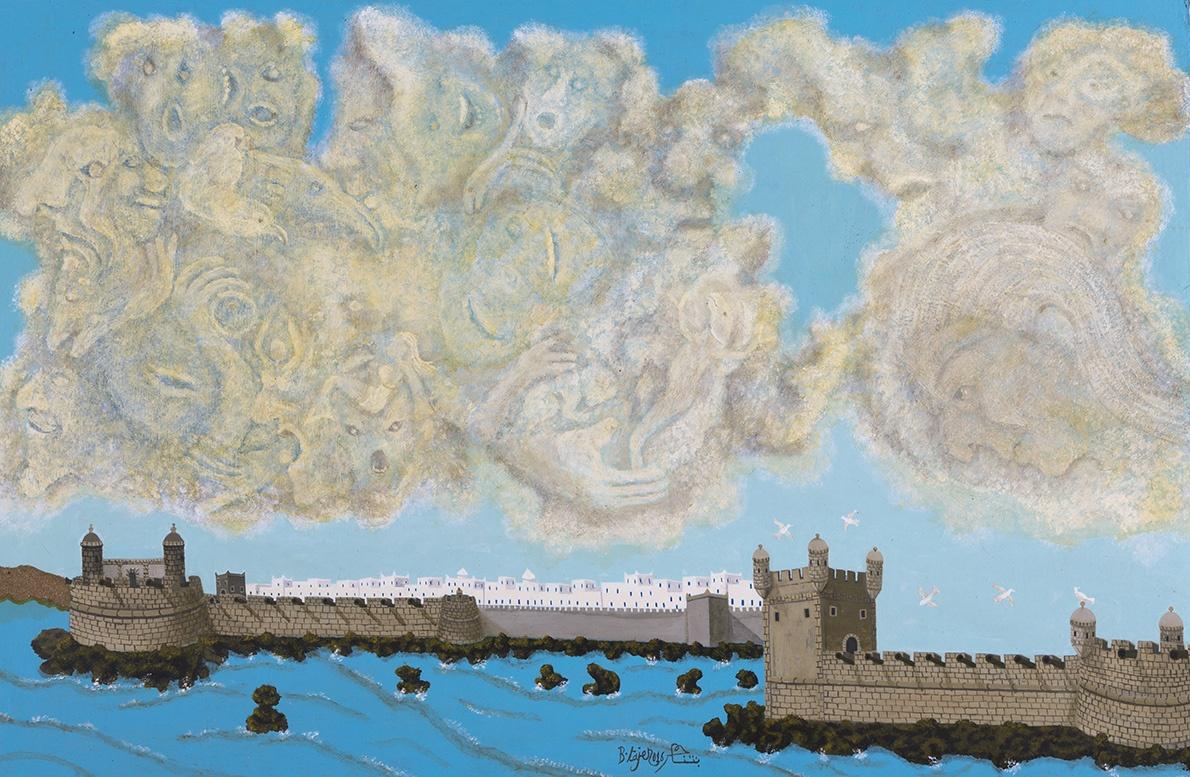 Abdelkader Bentajar, Composition, huile sur panneau, 97,2 x 140 cm